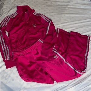 Adidas womens deep pink & silver tracksuit, size S